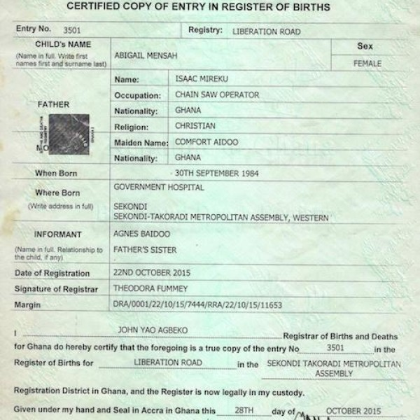 ghana birth certificate