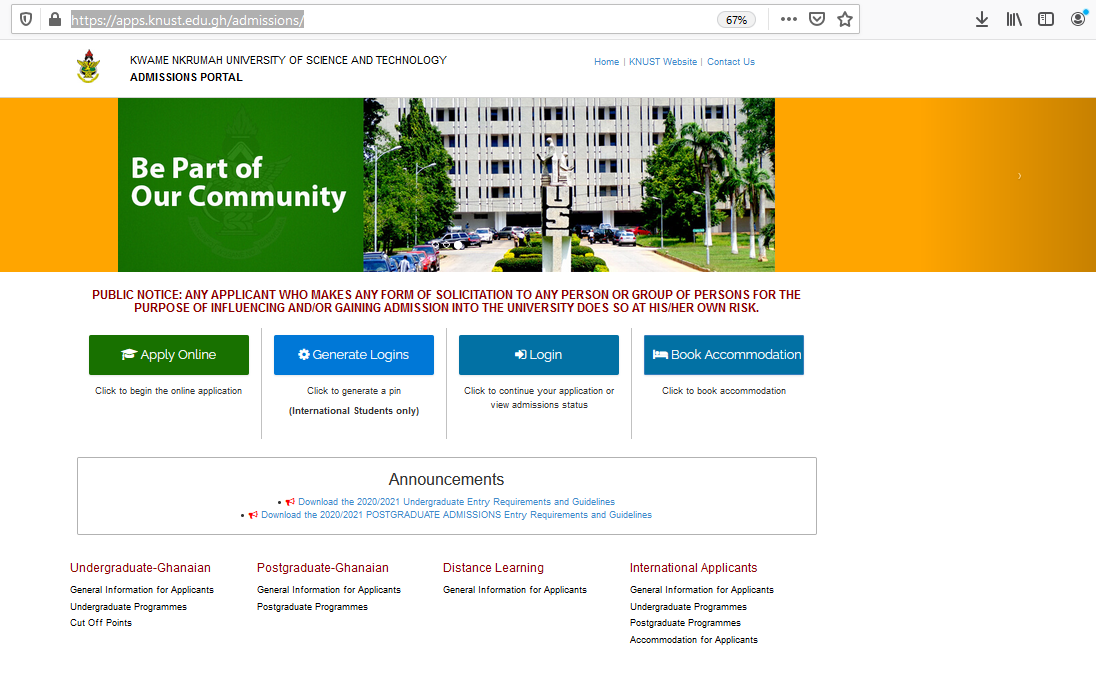 How Fill KNUST Online Admission