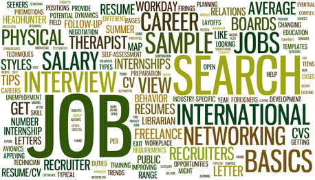 Wordloud with conceptual job search related words